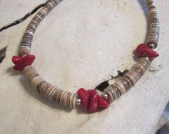 Navajo Jewelry/Red Coral/Native American Jewelry/Southwestern Jewelry/Necklace On Sale