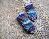 Handmade Micro Macrame Earrings in Blue, Purple & Brown with Sterling Silver Hoops