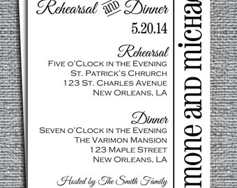 Rehearsal Dinner Invitation Printable or Printed with FREE SHIPPING - Customized to Your Event - Modern Chic