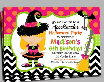 Halloween Invitation Printable or Printed with FREE SHIPPING- Birthday/Halloween Party- You Pick Hair Color/Skin Tone - Witch Hat Collection