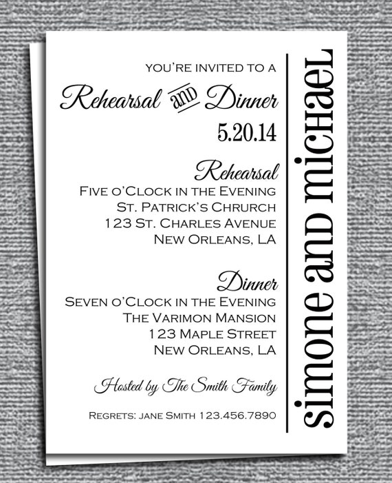 Rehearsal Dinner Invitation Printable or Printed with FREE SHIPPING ...