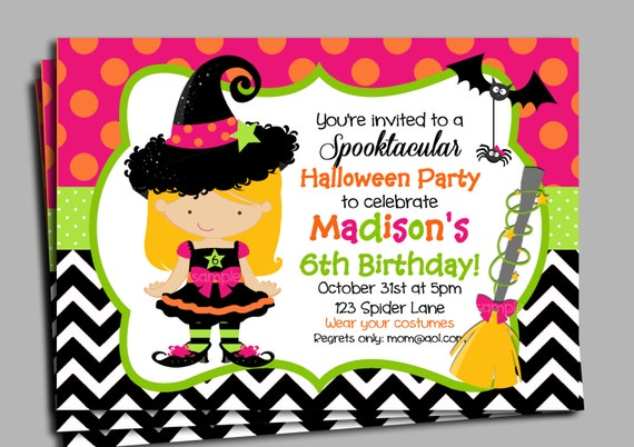Halloween Invitation Printable or Printed with FREE SHIPPING – Costume Party Invitations Free Printable