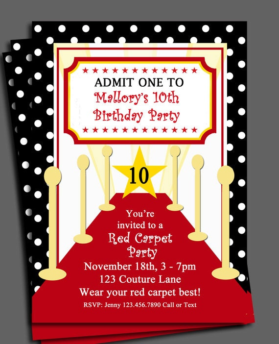 Red carpet party invitation printable or printed with free shipping il570xn filmwisefo