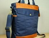 Landen Bag in Navy with Tan Leather/ Men/ Messenger/ Crossbody/ Briefcase/ Laptop Bag/ Handmade in New York