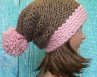 Knit Slouchy Hat Beanie Girls Brown And Dusty Pink Pom Pom Cozy And Warm