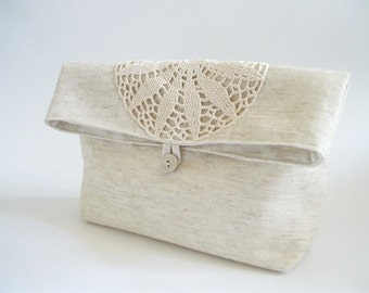 Foldover Wedding Clutches, Rustic Handbags, Linen and Lace Purses, Ivory Bridal Bags with Crochet, Set of 3