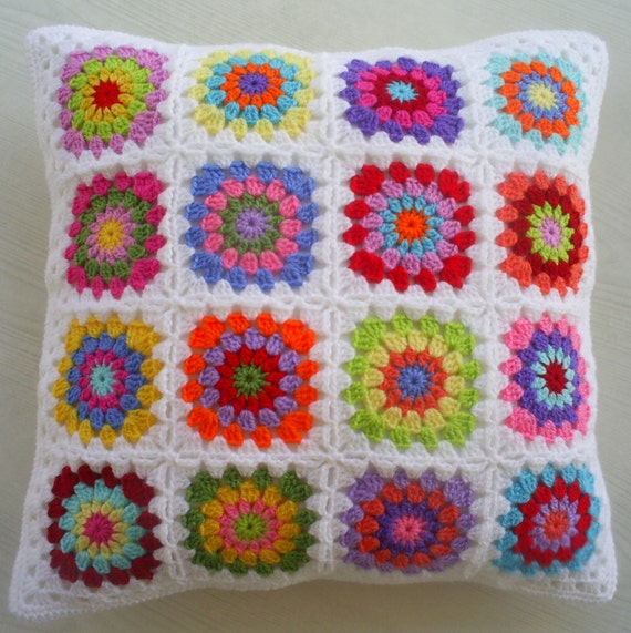 a hippie happy crochet granny square cushion cover / pillow