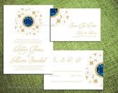 PRINTABLE Wedding Invitation Set GEMSTONE GLAM  Customize Gem Diy Engagement Party Anniversary Sapphire Program Template Pdf Regency Gatsby