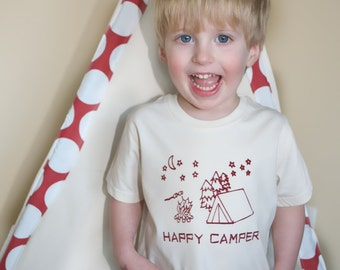 Eco Friendly Children Happy Camper Organic Natural 2T 4T or 6T SHORT Sleeve shirt- hand-drawn and printed Tent,  campfire and s'mores