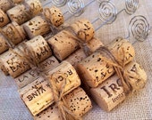 Jute Twine Rustic Wedding Table Number Holders, Natural Twine and Wine Corks