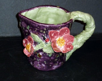 Art Pottery Dogwood Pitcher Cosmic Purple with pink dogwood flowers hand built
