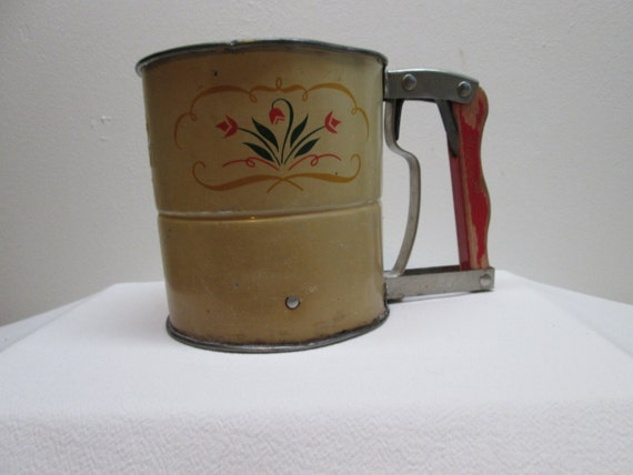 Vintage Androck Flour Sifter Red Wooden Handle By Heyjunkman