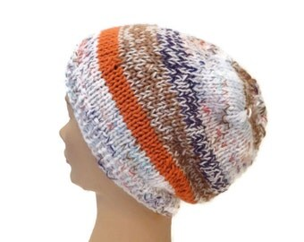 Slouchy Oversized Beanie Hand Knit  Multicolored   Beret Tamm  Ready to ship
