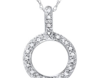 "Diamond Circle Pendant  1/4CT Diamond Circle Pendant 10K White Gold 18"" Chain Included"