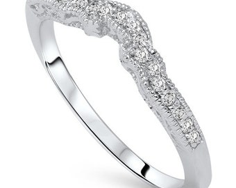 Vintage Diamond Wedding Ring Womens Bridal Band .45CT 14K White Gold Size (4-10)