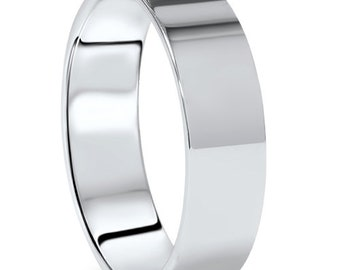Men's 10K White Gold 6mm Flat Plain Wedding Band High Polish