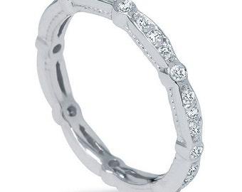3/8CT Stackable Diamond Eternity Ring 14 KT White  Gold Womens Wedding Anniversary Band