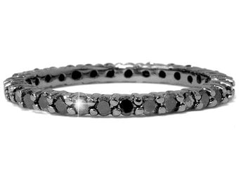 1.55CT Black Diamond Eternity Ring Channel Set Stackable Wedding Anniversary Band 14KT Black Gold