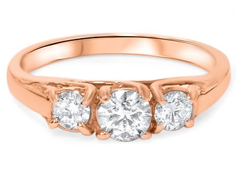 SI 1.00CT 3-Stone Diamond 14K Rose Gold Engagement Ring