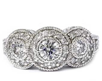 1.50CT Vintage Three Stone Diamond Ring 14K White Gold