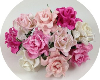 10 Handmade Mulberry Paper Flowers Mixed Sizes of Pink Curly Roses