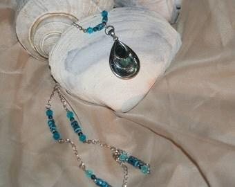 teardrop tri level abalone necklace