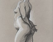 Standing Nude - Original Charcoal Pencil Drawing from Life Model