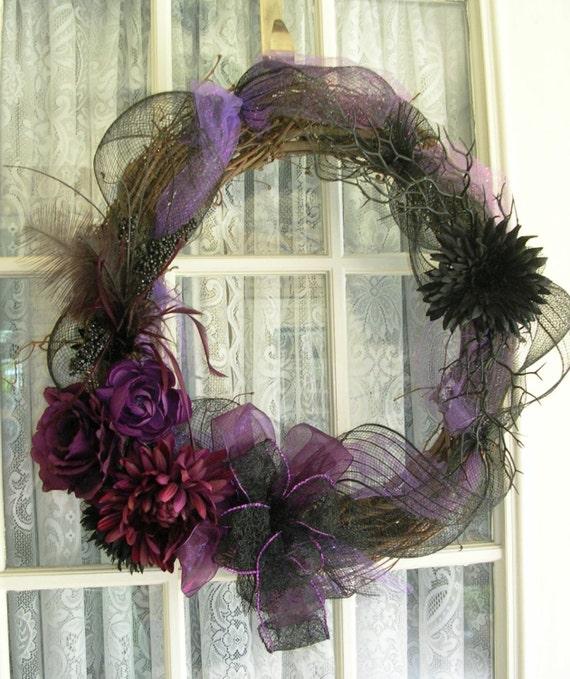 Halloween Wreath Halloween Decor Gothic By Cottageimaginations
