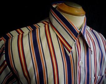 "70s 16-16 1/2"" King's Road Men's Big Collar S/S Shirt Blue Red Stripe"