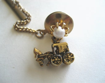 Vintage Stagecoach and Pearl Tie Tack