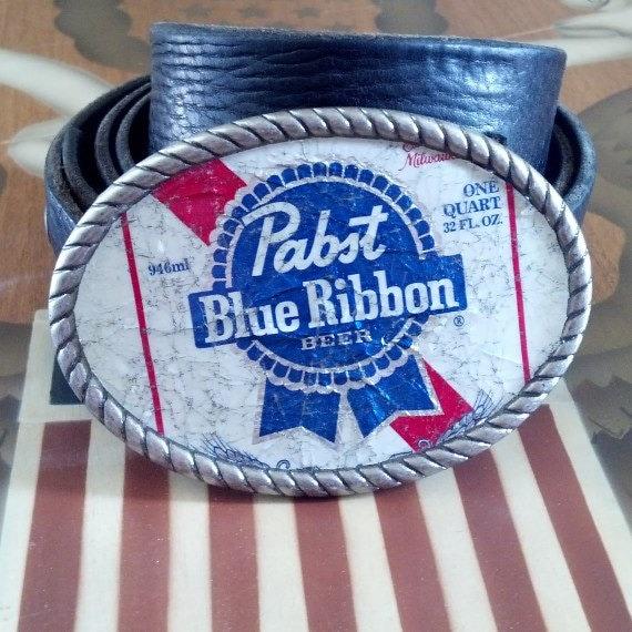 Pabst Blue Ribbon PBR Beer Label Belt Buckle Left Handed