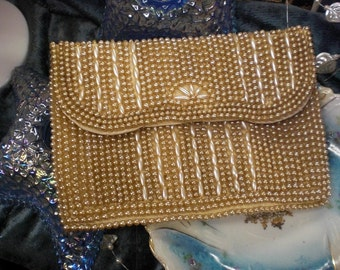 Ivory Pearl Bead Covered Purse Occupied Japan