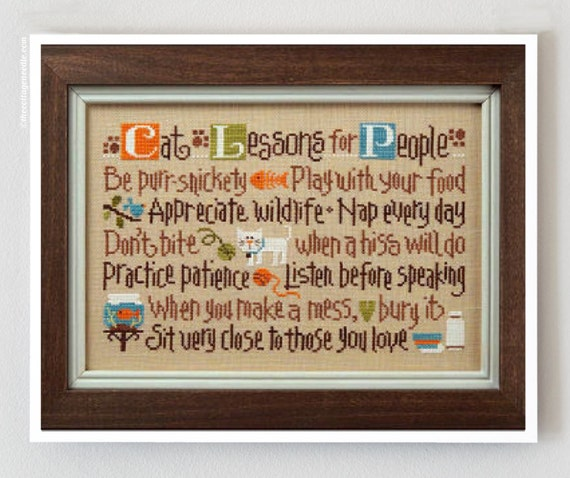 Cat Lessons for People cross stitch patterns by Lizzie Kate at thecottageneedle.com sampler kitty feline meow pet purr hand embroidery