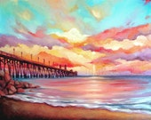 Beach Painting - Sunset Landscape - Oil - Print