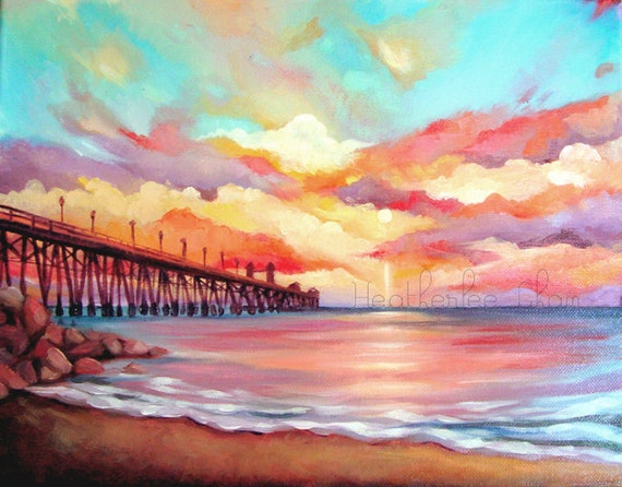 beach painting sunset colorful landscape oil print 5x7
