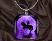 Purple Fairy Unicorn Moon Glass Tile Pendant