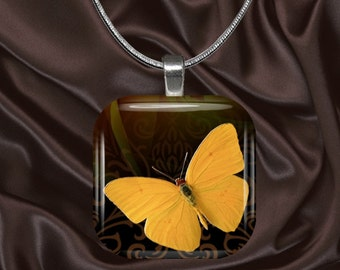 Yellow butterfly pendant with chain