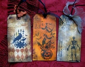 Gothic Halloween Gift Tags or Ornaments - Grunge Variety 3-Pack - Raven, Skeleton, Pumpkin