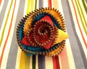 Colorful Zipper Flower Brooch