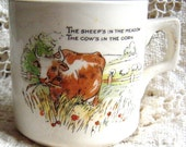 English Antique Porcelain Baby Cup with Cow Circa 1900s Nursery Rhyme Cup