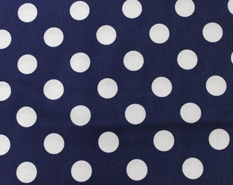 Blue and White Polka Dot Cotton Fabric by Riley Blake Designs. Summer Dresses, Vintage Aprons, Quilts, Headbands, Small Pouches, Totes