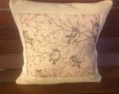 Birds on branches, Rustic Decor, Linen and Burlap Beige OOAK Pillow Cover