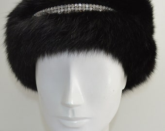 Fox Fur Headband with rhinestones in black  new made in usa