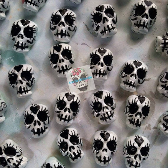 Handmade Economical Art Supply Clay Sugar Skull Cabs For Your Art Set of 20 Sugar Skull Crafts