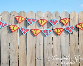 INSTANT DOWNLOAD Printable Happy Birthday Banner - Superhero Collection - Memorable Moments Studio