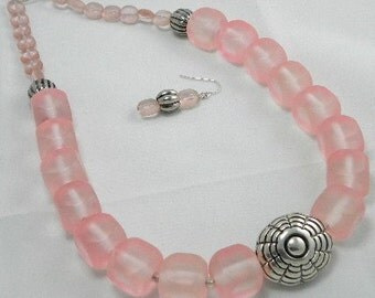 Frosted Pink Chunky Necklace Set REDUCED