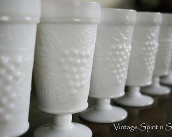 6 Vintage Glass Grape Design Goblets