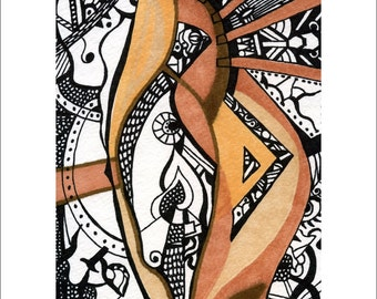 At The End Of A Day 5x7 signed print Loree Harrell - abstract woodstain drawing earthtone.  See listing for other sizes!