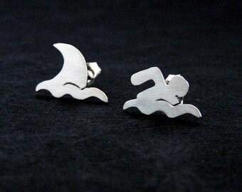 Shark Earrings - Silver Shark Jewelry - Swimmer Gift - Shark Lovers Jewelry - Funny Earrings - Shark Week - Shark Gift