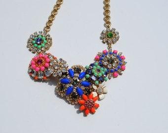 Super Glam Flower Rhinestone Necklace